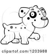 Cartoon Of A Black And White Cute Dalmatian Puppy Walking Royalty Free Vector Clipart by Cory Thoman