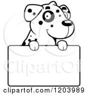 Cartoon Of A Black And White Cute Dalmatian Puppy Over A Sign Royalty Free Vector Clipart by Cory Thoman