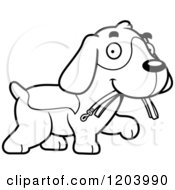 Cartoon Of A Black And White Cute Beagle Puppy Carrying A Leash In His Mouth Royalty Free Vector Clipart by Cory Thoman