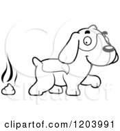 Cartoon Of A Black And White Cute Beagle Puppy And Fresh Poop Royalty Free Vector Clipart by Cory Thoman