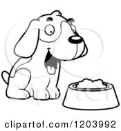 Cartoon Of A Black And White Cute Beagle Puppy With Dog Food Royalty Free Vector Clipart by Cory Thoman