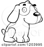 Cartoon Of A Black And White Cute Beagle Puppy Sitting Royalty Free Vector Clipart by Cory Thoman
