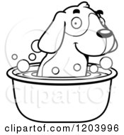 Cartoon Of A Black And White Cute Beagle Puppy Taking A Bath Royalty Free Vector Clipart by Cory Thoman