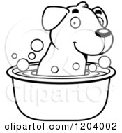 Cartoon Of A Black And White Cute Labrador Puppy Taking A Bath Royalty Free Vector Clipart by Cory Thoman