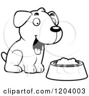 Cartoon Of A Black And White Cute Labrador Puppy Sitting By Dog Food Royalty Free Vector Clipart by Cory Thoman