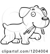 Cartoon Of A Black And White Cute Labrador Puppy Carrying A Leash Royalty Free Vector Clipart by Cory Thoman