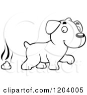 Cartoon Of A Black And White Cute Labrador Puppy And Pile Of Poop Royalty Free Vector Clipart by Cory Thoman