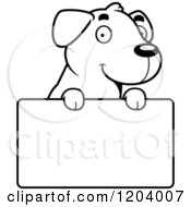 Cartoon Of A Black And White Cute Labrador Puppy Over A Sign Royalty Free Vector Clipart by Cory Thoman