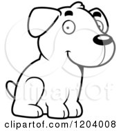 Cartoon Of A Black And White Cute Labrador Puppy Sitting Royalty Free Vector Clipart by Cory Thoman