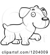 Cartoon Of A Black And White Cute Labrador Puppy Walking Royalty Free Vector Clipart by Cory Thoman