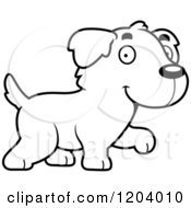 Cartoon Of A Black And White Cute Golden Retriever Puppy Walking Royalty Free Vector Clipart