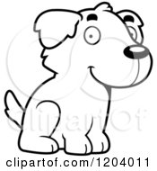 Cartoon Of A Black And White Cute Golden Retriever Puppy Sitting Royalty Free Vector Clipart