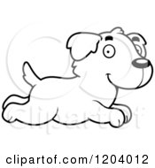 Cartoon Of A Black And White Cute Golden Retriever Puppy Running Royalty Free Vector Clipart