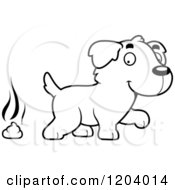 Cartoon Of A Black And White Cute Golden Retriever Puppy With Dog Poop Royalty Free Vector Clipart