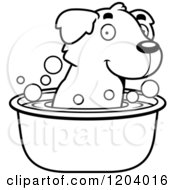 Cartoon Of A Black And White Cute Golden Retriever Puppy Taking A Bath Royalty Free Vector Clipart by Cory Thoman