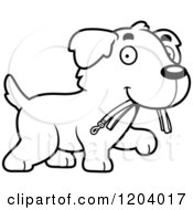 Cartoon Of A Black And White Cute Golden Retriever Puppy Carrying A Leash Royalty Free Vector Clipart