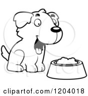 Cartoon Of A Black And White Cute Golden Retriever Puppy With Food Royalty Free Vector Clipart