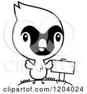 Cartoon Of A Black And White Cute Baby Cardinal Bird By A Sign Post Royalty Free Vector Clipart by Cory Thoman