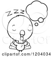Cartoon Of A Black And White Cute Baby Turkey Bird Dreaming Royalty Free Vector Clipart by Cory Thoman
