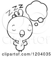 Cartoon Of A Black And White Cute Baby Rooster Dreaming Royalty Free Vector Clipart