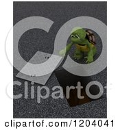 3d Construction Worker Tortoise Looking Down A Man Hole