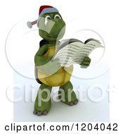 Clipart Of A 3d Tortoise Singing Christmas Carols Royalty Free CGI Illustration