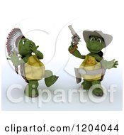 Clipart Of 3d Tortoises Playing Cowboys And Indians Royalty Free CGI Illustration by KJ Pargeter