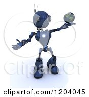 Clipart Of A 3d Blue Android Robot Holding The Earth In His Hand Royalty Free CGI Illustration