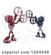 Clipart Of 3d Red And Blue Android Robots Holding Up Gears Royalty Free CGI Illustration
