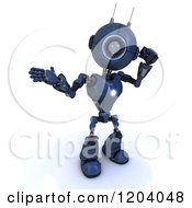 3d Blue Android Robot Talking On A Cell Phone