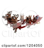 Clipart Of A 3d Robot Santa And Christmas Reindeer Royalty Free CGI Illustration