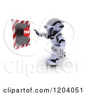 Clipart Of A 3d Robot Pushing A Panic Button Royalty Free CGI Illustration