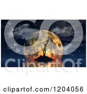 Clipart Of A 3d Island With A Spooky Dead Tree Against An Orange Moon Royalty Free CGI Illustration