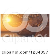 Clipart Of A 3d Sunset Over Coastal Mountains Royalty Free CGI Illustration