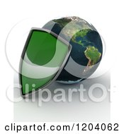 Clipart Of A 3d Globe Featuring The Americas And A Green Security Shield On Shaded White Royalty Free CGI Illustration