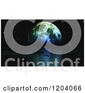Clipart Of A 3d Moon Setting Over The Ocean Against Stars Royalty Free CGI Illustration