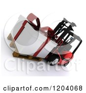 Clipart Of A 3d Christmas Delivery Gift Present On A Red Forklift Royalty Free CGI Illustration