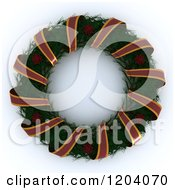 Clipart Of A 3d Christmas Wreath With A Ribbon Garland Royalty Free CGI Illustration by KJ Pargeter