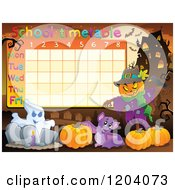 Cartoon Of A Halloween School Time Table Royalty Free Vector Clipart by visekart