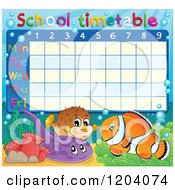 Cartoon Of A Marine Fish School Time Table Royalty Free Vector Clipart