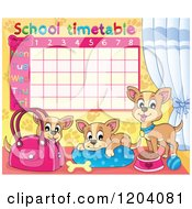 Cartoon Of A Chihuahua School Time Table Royalty Free Vector Clipart