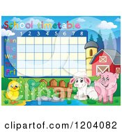 Cartoon Of A School Time Table With Farm Animals Royalty Free Vector Clipart