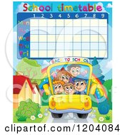 Cartoon Of A School Children Time Table Of Kids On A Bus Royalty Free Vector Clipart