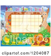 Cartoon Of A School Time Table With Australian Animals Royalty Free Vector Clipart by visekart