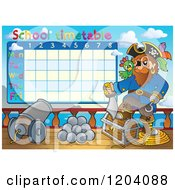 Cartoon Of A Pirate School Time Table Royalty Free Vector Clipart