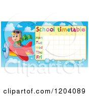 Cartoon Of A Pilot Boy Flying A School Time Table Royalty Free Vector Clipart by visekart