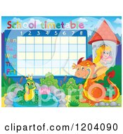 Cartoon Of A Fairy Tale School Time Table Royalty Free Vector Clipart by visekart