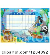 Cartoon Of A School Time Table With A Pirate Parrot Ship And Treasure Royalty Free Vector Clipart