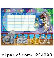 Cartoon Of A School Time Table With A Skeleton Pirate Royalty Free Vector Clipart