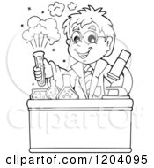 Cartoon Of A Black And White Scientist Boy Experimenting With Chemicals Royalty Free Vector Clipart by visekart